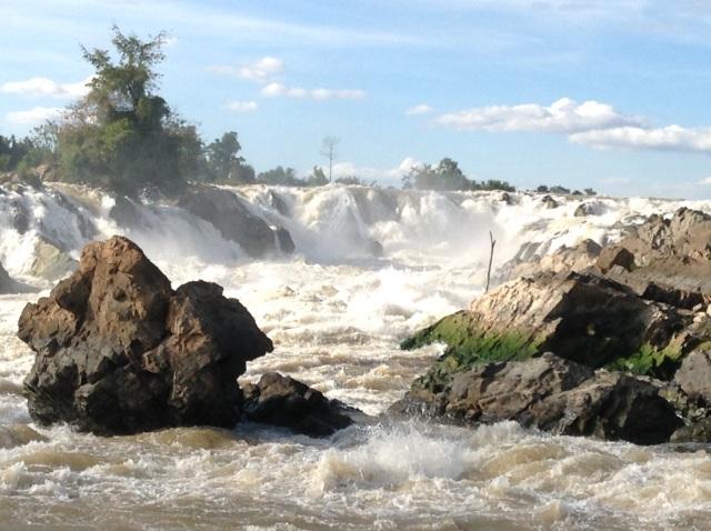 Mekongwasserfall an der Grenze von Laos zu Kambodscha